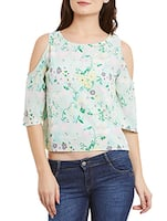 sea green floral printed crepe top -  online shopping for Tops