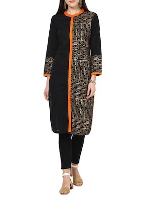black none straight kurta