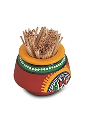 Yellow Terracotta Ethnic Toothpick Holder - By
