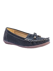 Black Leather Slip On Loafers - By
