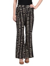 Black And White Polyester Printed Palazzo - By