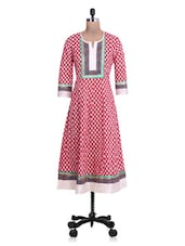 Printed Red And White Cotton Anarkali Kurta - By