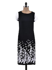 Black Rayon Bird Motifs Kurta - By