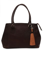 Brown Leather Handbag With Detachable Tassel - By