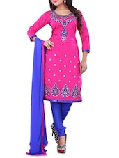 Pink Embroidered Chanderi Cotton Unstitched Salwar Suit Set - By