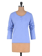 Lightblue Cotton Knit Full Sleeves Top - By