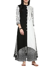 Black Rayon Aline Kurta - By