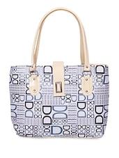 White Leatherette Printed Handbag - By