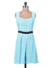 Blue Lace Fabric Lace Skater Dress - By