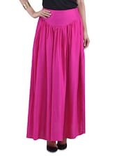 Pink Rayon Maxi Skirt - By