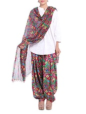 Dark Pink Floral Patiala And Dupatta Set - By