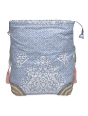 Blue And White Canvas Beaded Bag - By