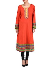 Red Cotton Printed Embroidered Kurti - By