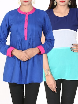 set of 2 multi colored georgette tops