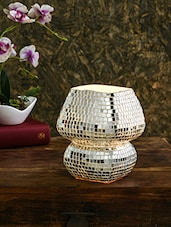 Silver Mirror Work Mosaic Glass Table Lamp - By