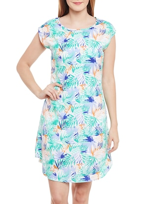 multicolored floral printed crepe a-line dress
