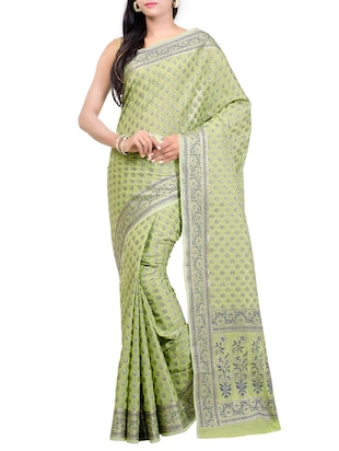 green chanderi banarasi saree