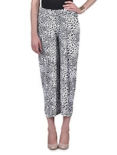 White And Black Printed Palazzo - By