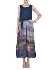 Multicoloured Printed Georgette Maxi Dress - By