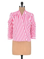 White And Pink Polycrepe Striped Top - By