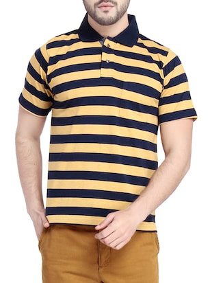 dark blue cotton striped t-shirt