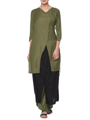 Olive rayon angrakha dress and wrap palazzos set
