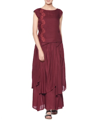 Maroon embroidered rayon top and skirt set