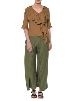 Solid camel brown rayon top and olive palazzo set