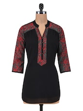 Black Georgette And Crepe Printed Tunic - By