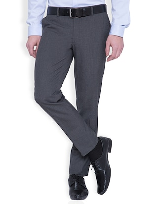 grey polyester flat front trousers formal trouser