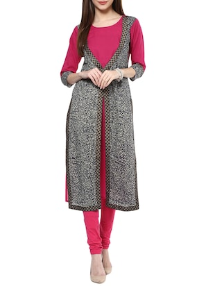 pink cotton long kurta