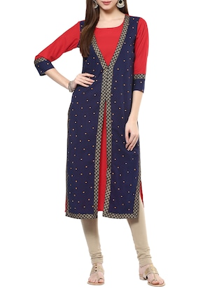 Blue cotton long kurta