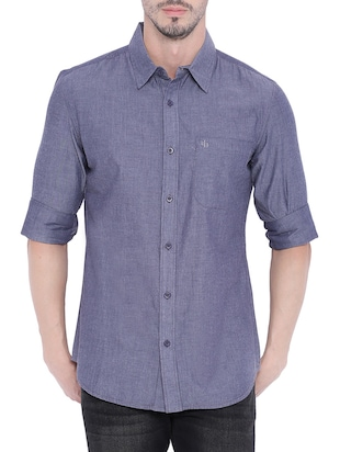 navy blue cotton casual shirt