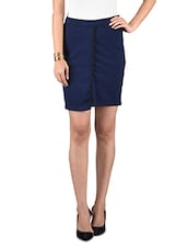 Navy Blue Cotton Spandex Knit Skirt - By