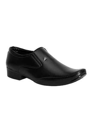 black leatherette slip on