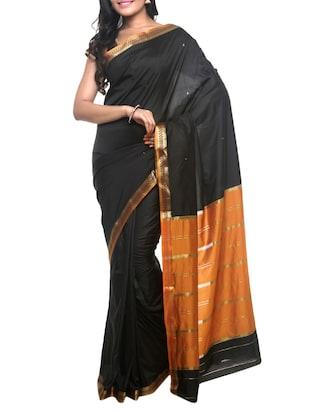 black art silk handloom saree with blouse