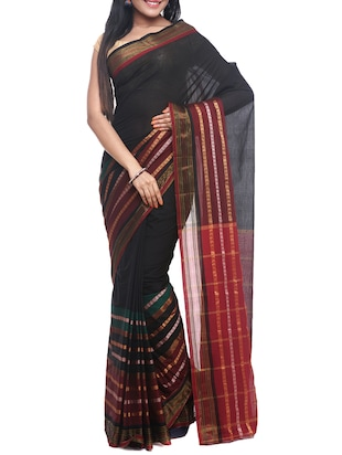 black cotton handloom saree with blouse