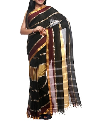 black cotton zari work handloom saree with blouse