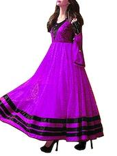 Purple Net Brasso Anarkali Semi-Stitched Dress Material - By