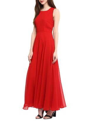 red georgette gown - 13064506 - Standard Image - 2