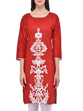 Red Cotton Printed Straight Kurta - By