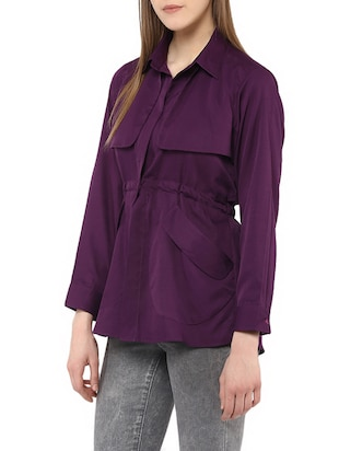 purple crepe summer jacket - 13065169 - Standard Image - 2