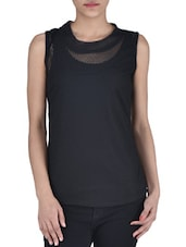Solid Black Net Top - By