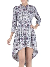White Floral Printed Crepe Asymmetrical Dress - By