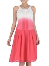 Pink Halter Neck Polyester Dress - By