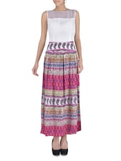 Multicolored Printed Georgette Maxi Dress - By