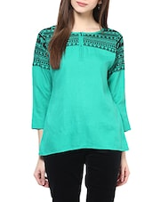 green printed cotton top -  online shopping for Tops