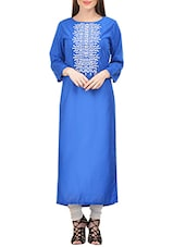 Blue Rayon Embroidered Long Kurta - By