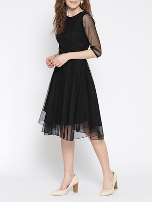 black net fit & flare dress - 13073861 - Standard Image - 2