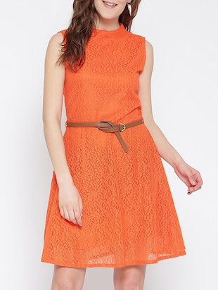 orange net belted dress